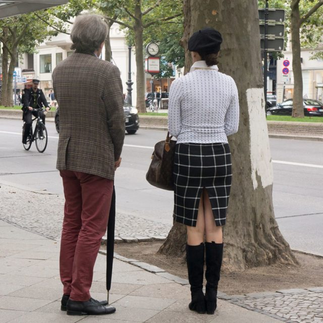 chap with umbrella and mature baglady displaying some thigh inhellip